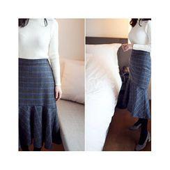 MASoeur - Ruffle-Hem Plaid Midi Skirt