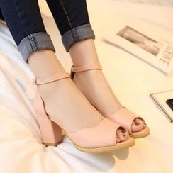 Pastel Pairs - Open-toe Chunky Heel Sandals