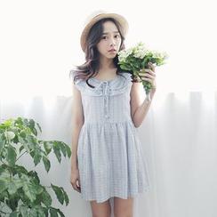 Tokyo Fashion - Frilled Plaid Sleeveless Dress