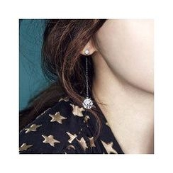 Sunsped - Rhinestone Drop Earrings / Clip-On Earrings