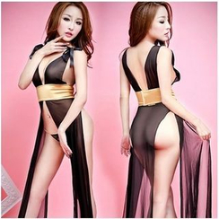 Joy Love Club - Set: Sheer Tie-waist Nightdress + Panties