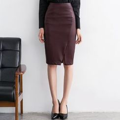 Eleganza - Faux Leather Pencil Skirt