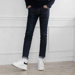 Seoul Homme - Stitch-Trim Straight-Cut Jeans