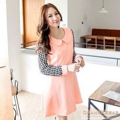 OrangeBear - Doll Collar Houndstooth Chiffon Dress