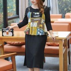 Hennson - Set: 3/4-Sleeve Sheath Dress + Strappy Patterned Top