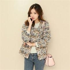 JVLLY - Snap-Button Wool Blend Knit Jacket