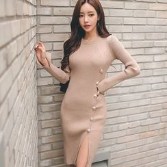 Gl.bY - Buttoned Knit Bodycon Dress