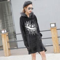Sonne - 繡皮毛領絲絨連帽連衣裙