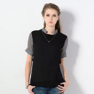 YesStyle Z - Short-Sleeved Striped Panel Chiffon Top