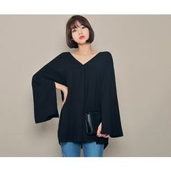HOTPING - Slit-Sleeve A-Line Top