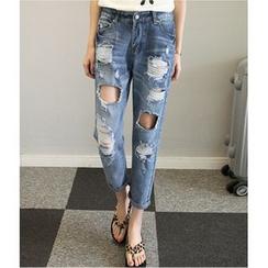 MAVIS - Ripped Straight-Cut Jeans