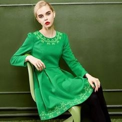ELF SACK - Long-Sleeve Embroidered Dress