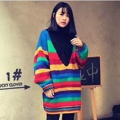 Hidari - Striped Deep V-Neck Chunky Sweater