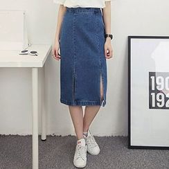 Honey House - Slit Front Midi Denim Skirt