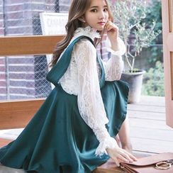 Dowisi - Set: Plain Camisole + Long Sleeve Mock Neck Lace Top + A-Line Pinafore Dress