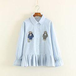 Mushi - Cat Embroidered Ruffle Hem Long Sleeve Shirt