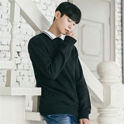 STYLEMAN - Contrasted Collar-Trim Long-Sleeve T-Shirt