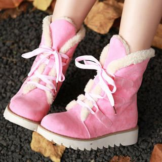 77Queen - Lace-Up Short Snow Boots