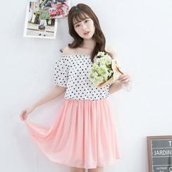 Tokyo Fashion - Mock Two Piece Dotted Chiffon Short Sleeve Dress