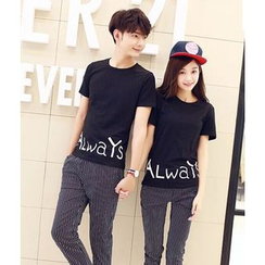 We Belong - Couple Matching Set: Lettering Short Sleeve T-Shirt + Cropped Striped Pants