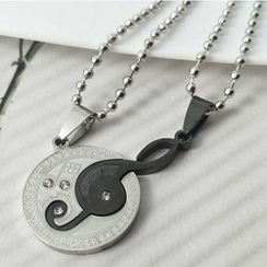 Free Shop - Set: Rhinestone Musical Note Pendant + Moon Pendant