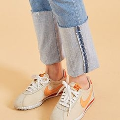 chuu - Cuff-Hem Washed Slim-Fit Jeans