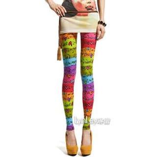 Lynley - Heart Print Lettering Leggings