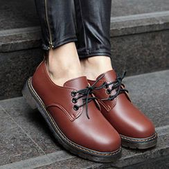 Mancienne - Faux-Leather Lace-Up Oxfords