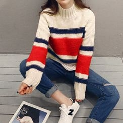 NANING9 - Turtle-Neck Color-Block Sweater