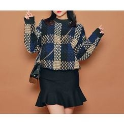 HOTPING - Round-Neck Pattern Pullover