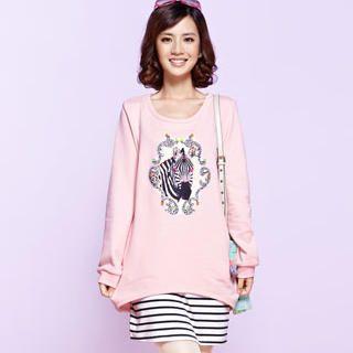 Moonbasa - Zebra-Appliqué T-Shirt