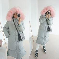 STYLEBYYAM - Faux Fur-Trim Hooded Long Padded Coat