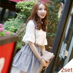 BRONCY - Set: Bell-Sleeve T-Shirt + Suspender Linen Skirt