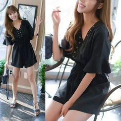 Dowisi - V-neck Frill Sleeve Playsuit