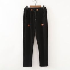 ninna nanna - Faux Leather Applique Jogger Pants