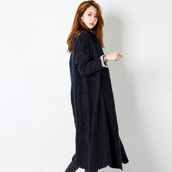 FASHION DIVA - Shawl-Collar Long Cable-Knit Cardigan