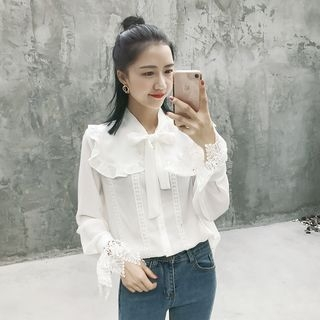GAGAI - Lace-Panel Blouse