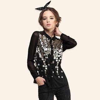 Power Sweet - Drawcord-Waist Sequined Button-Front Shirt