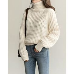 UPTOWNHOLIC - Turtle-Neck Textured Knit Top