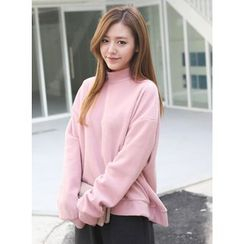 BBAEBBAE - Mock-Neck Drop-Shoulder Ribbed Sweatshirt