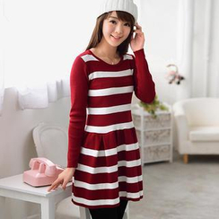 59 Seconds - Circle Collar Striped Dress