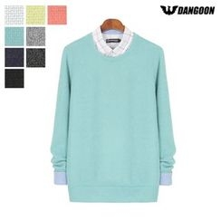 DANGOON - Crew-Neck Colored Knit Top