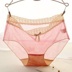 Fitight - Lace-Trim Mesh Panties
