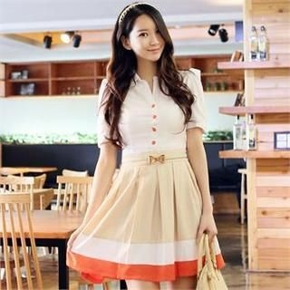 CHICLINE - Puff-Sleeve Contrast-Trim A-Line Dress with Belt
