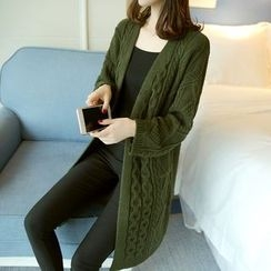 Ageha - Cable Knit Long Cardigan