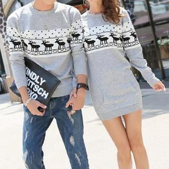 Hanee - Nordic Print Couple Knit Sweater / Sweater Dress