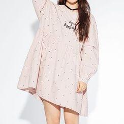 Heynew - Lettering Embroidered Polka Dot A-Line Dress