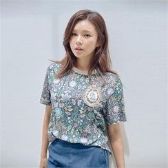 MAGJAY - Applique-Accent Floral-Pattern T-Shirt