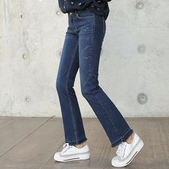 CLICK - Distressed Boot-Cut Jeans