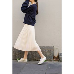CHERRYKOKO - Accordion-Pleat Chiffon Midi Skirt